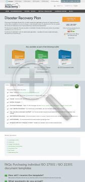Disaster Recovery Plan ISO 27001 ISO 22301 template in English preview. Click for more details