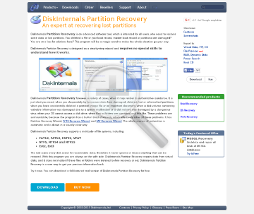 DiskInternals Partition Recovery Home License preview. Click for more details