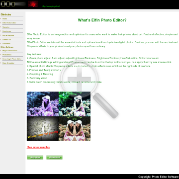 Elfin Photo Editor Full Version preview. Click for more details