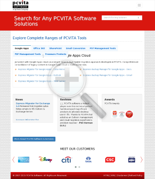PCVITA Express Migrator for Google Apps Outlook 2550 Users License preview. Click for more details