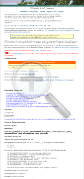 PDF Security Single Developer License preview. Click for more details