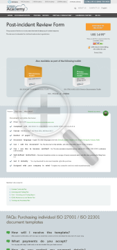 Post Incident Review Form ISO 22301 template in English preview. Click for more details